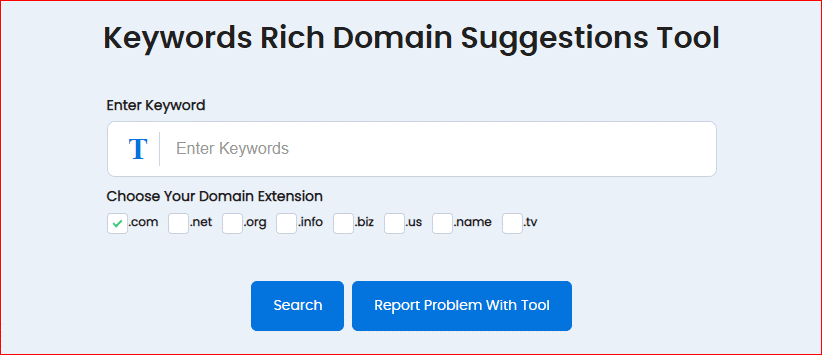 Keywords Rich Domain Suggestions Tool