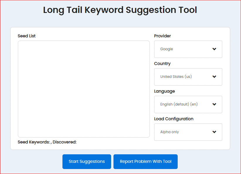 Long Tail Keyword Suggestion Tool