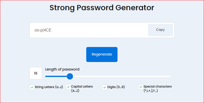 Strong and Random Password Generator