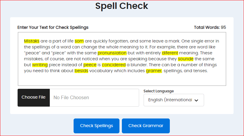 Spell Checker content Images
